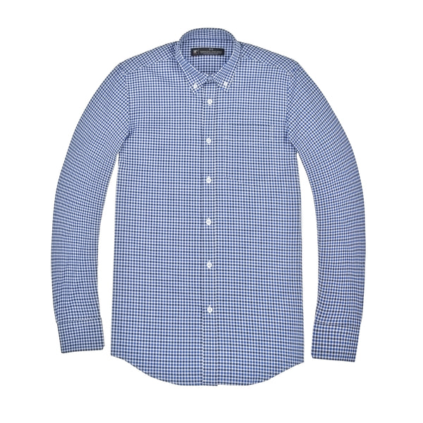 Blue and Black Gingham Slim Fit Button-Down Collar Shirt