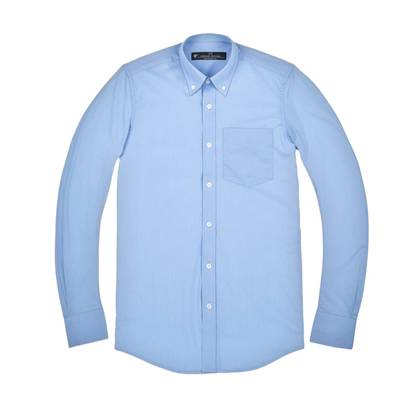 Light Blue Mini Check Stretch Slim Fit Button-down Collar Shirt