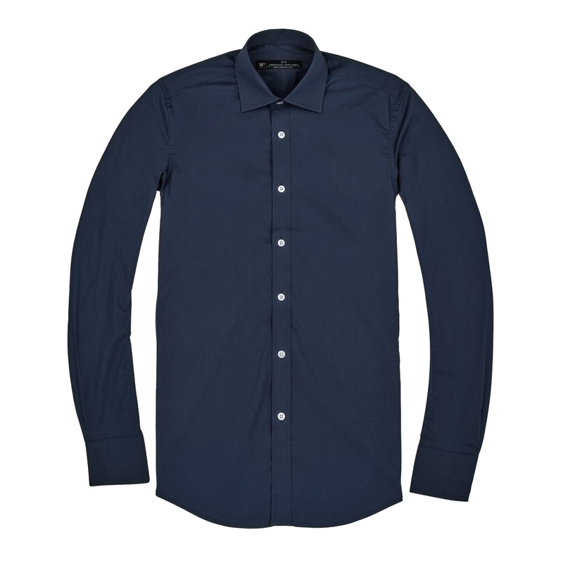 Navy Poplin Stretch Slim Fit Wide Spread Collar Shirt