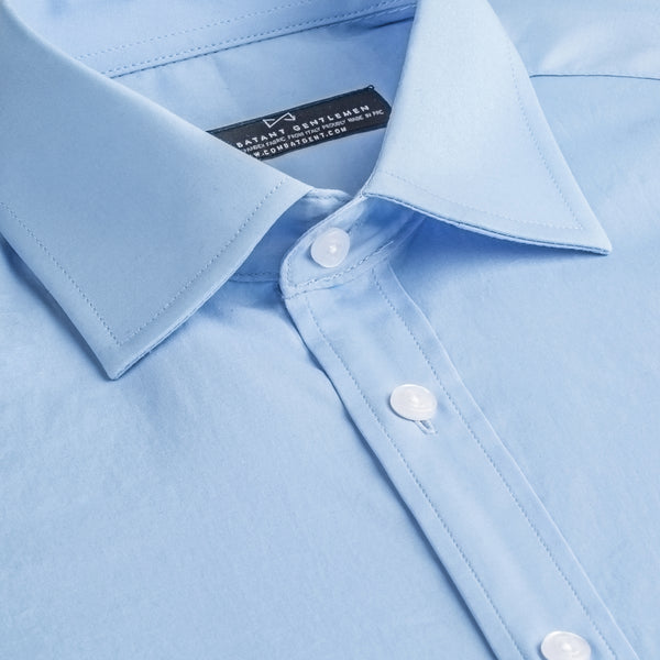 Blue Poplin Stretch Slim Fit Wide Spread Collar Shirt