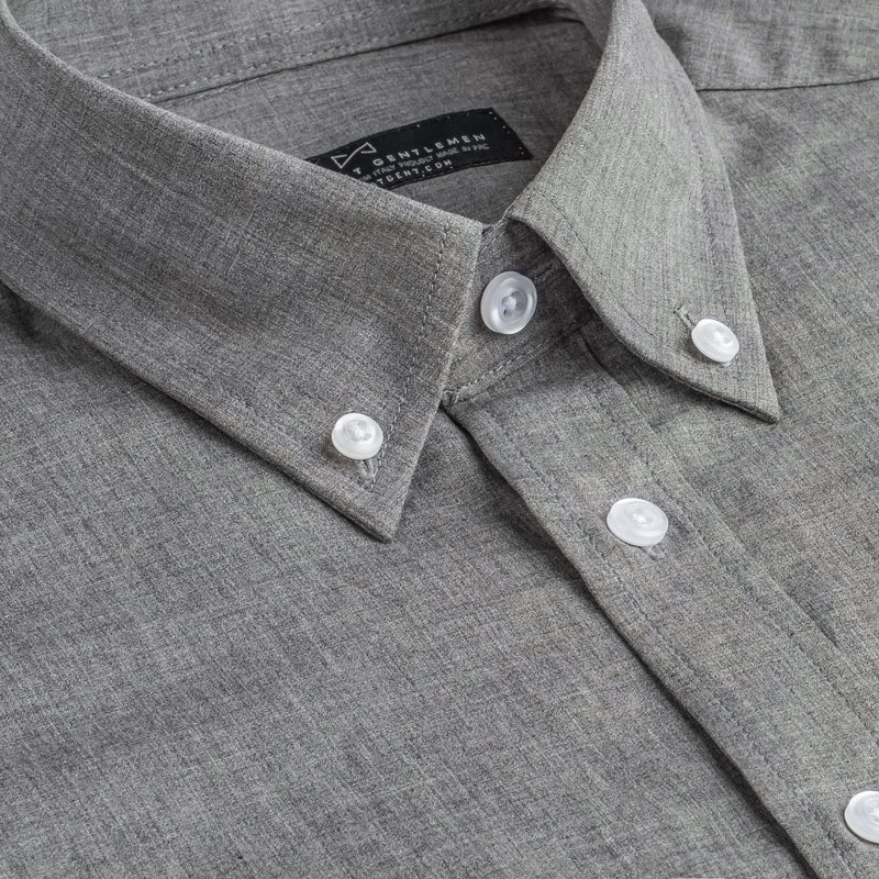 Charcoal Chambray Athletic Fit Button-Down Collar Shirt