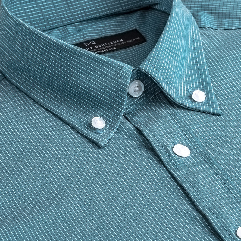Emerald Mini Check Stretch Slim Fit Button-down Collar Shirt