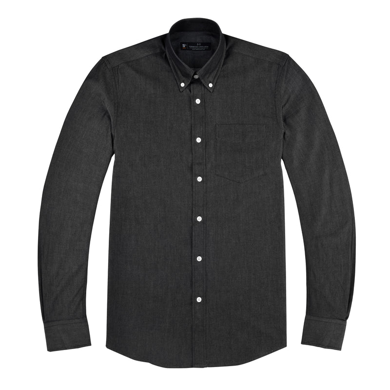 Dark Grey Chambray Slim Fit Button-Down Collar Shirt