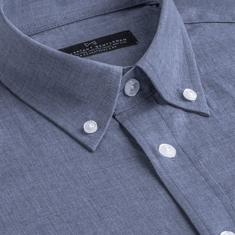 Slate Blue Chambray Slim Fit Button-Down Collar Shirt