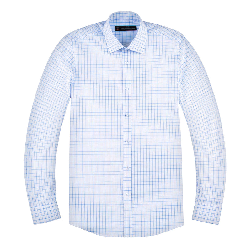 Blue and White Boxed Windowpane Slim Fit Wide Spread Collar Shirt