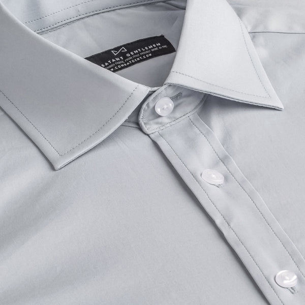 Light Grey Poplin Stretch Slim Fit Wide Spread Collar Shirt