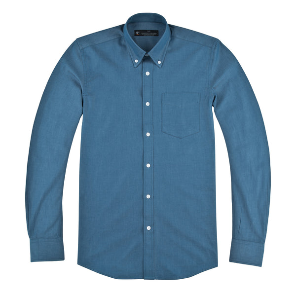 Ash Blue Chambray Athletic Fit Button-Down Collar Shirt