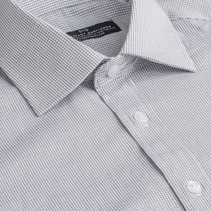 Black and White Windowpane Slim Fit Wide Spread Collar Shirt