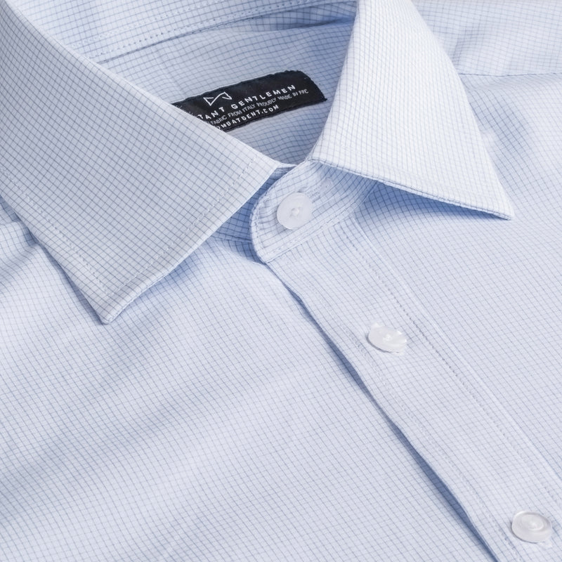 Light Blue and White Windowpane Athletic Fit Wide Spread Collar Shirt