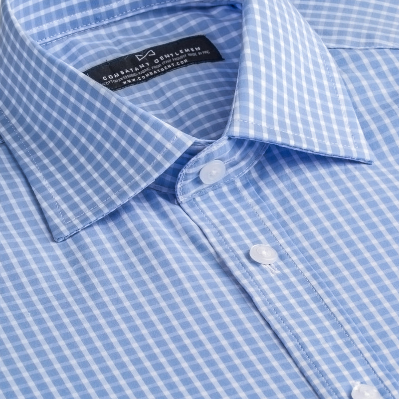 Light Blue and White Check Stretch Athletic Fit Wide Spread Collar Shirt