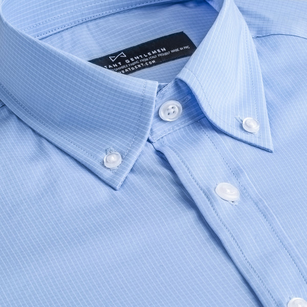 Light Blue Mini Check Stretch Athletic Fit Button-down Collar Shirt
