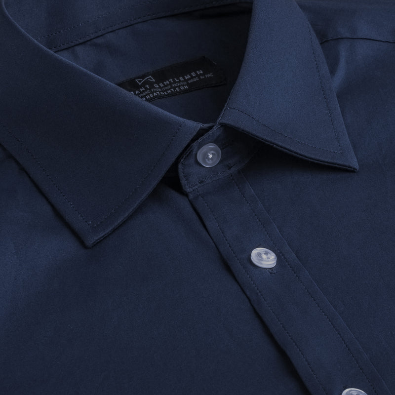 Navy Poplin Stretch Athletic Fit Wide Spread Collar Shirt