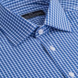 Blue and White Check Stretch Slim Fit Wide Spread Collar Shirt