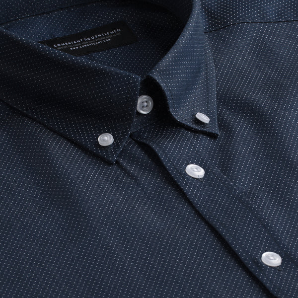 Navy & White Pindot Slim Fit Button-Down Collar Shirt