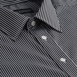 Black and White Thin Stripe Slim Fit Wide Spread Collar Shirt
