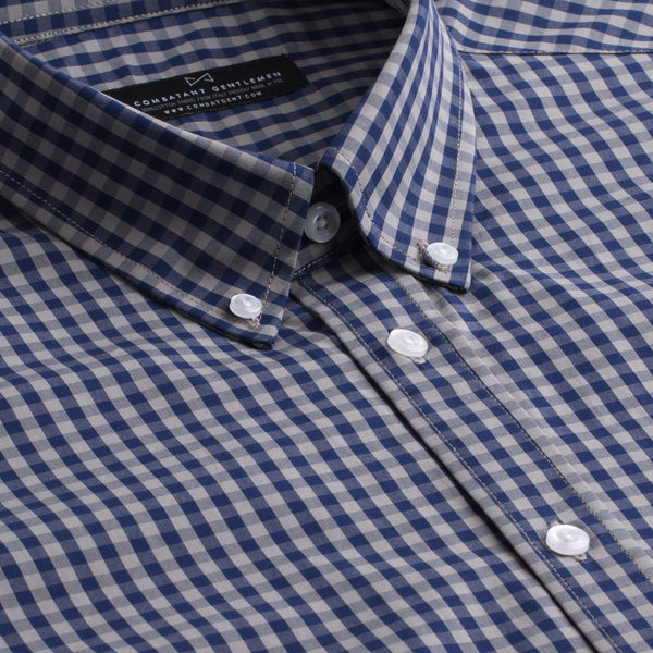 Navy and Grey Gingham Athletic Fit Button-Down Collar Shirt