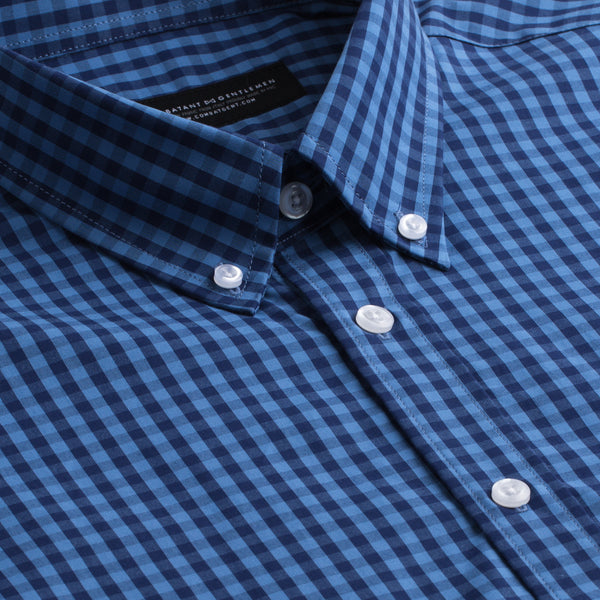 Navy and Blue Gingham Athletic Fit Button-Down Collar Shirt