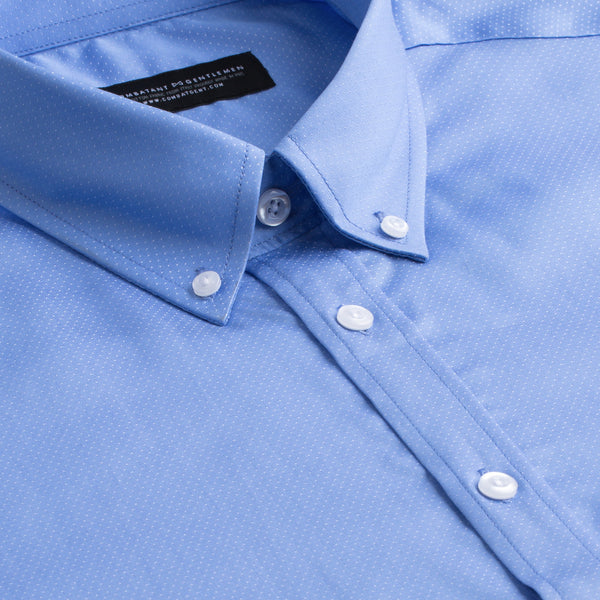 Light Blue & White Pindot Slim Fit Button-Down Collar Shirt
