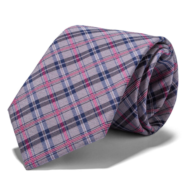 Grey, Blue and Pink Multi Plaid Tie