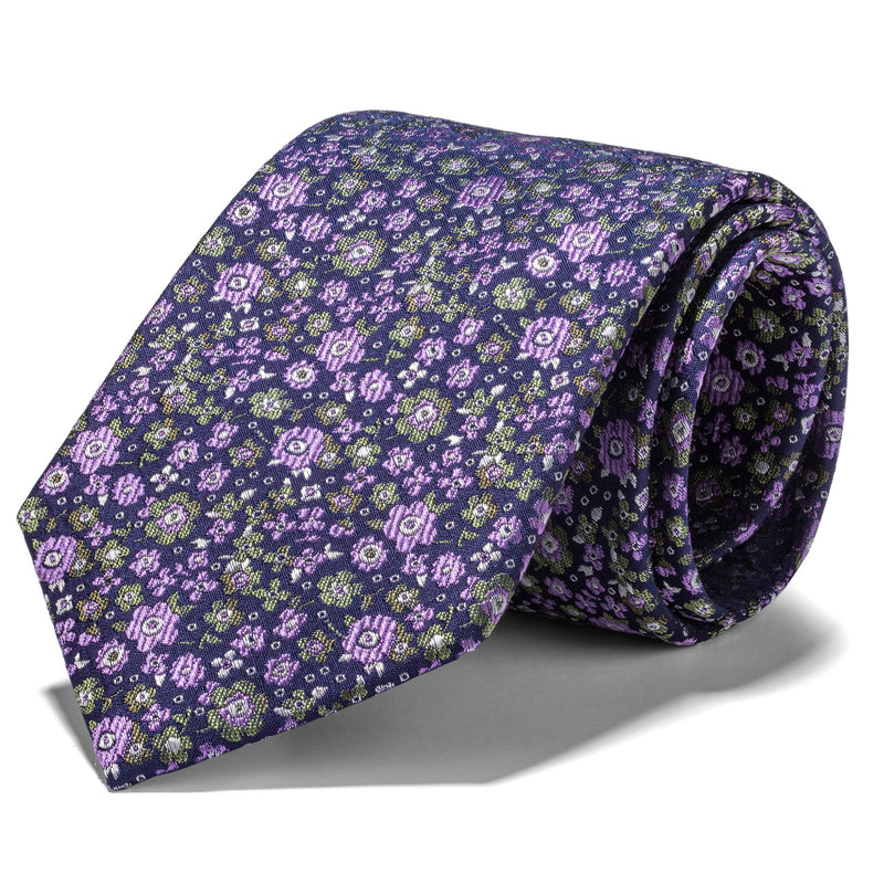 Lavender and Light Green Mini Floral Tie
