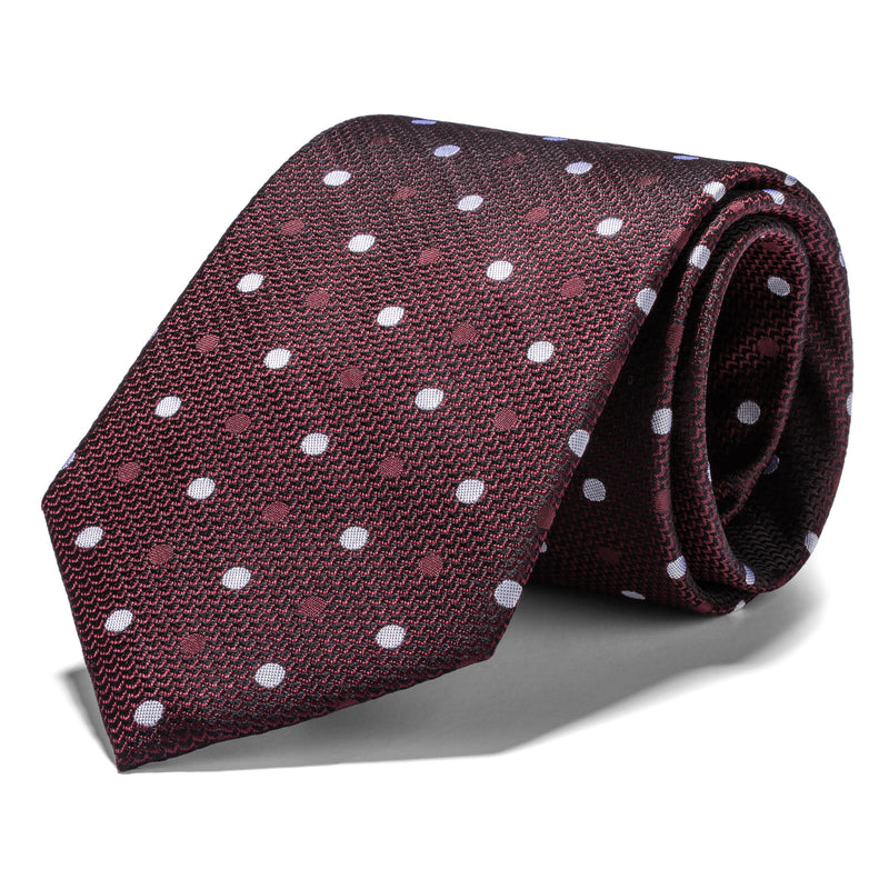 Brown and White Double Polka dot Tie