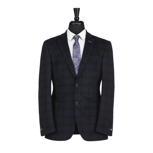 Navy Plaid Slim Fit Blazer