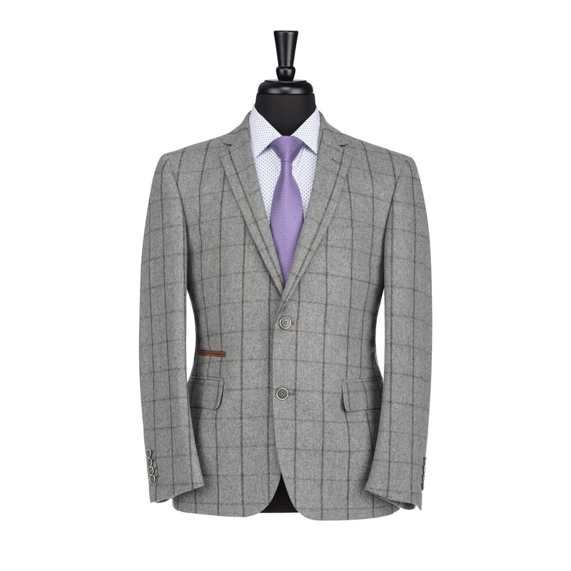 Grey and Brown Windowpane Slim Fit Blazer
