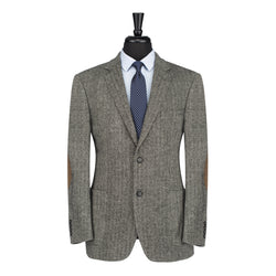 Grey Herringbone Tweed Modern Fit Field Blazer