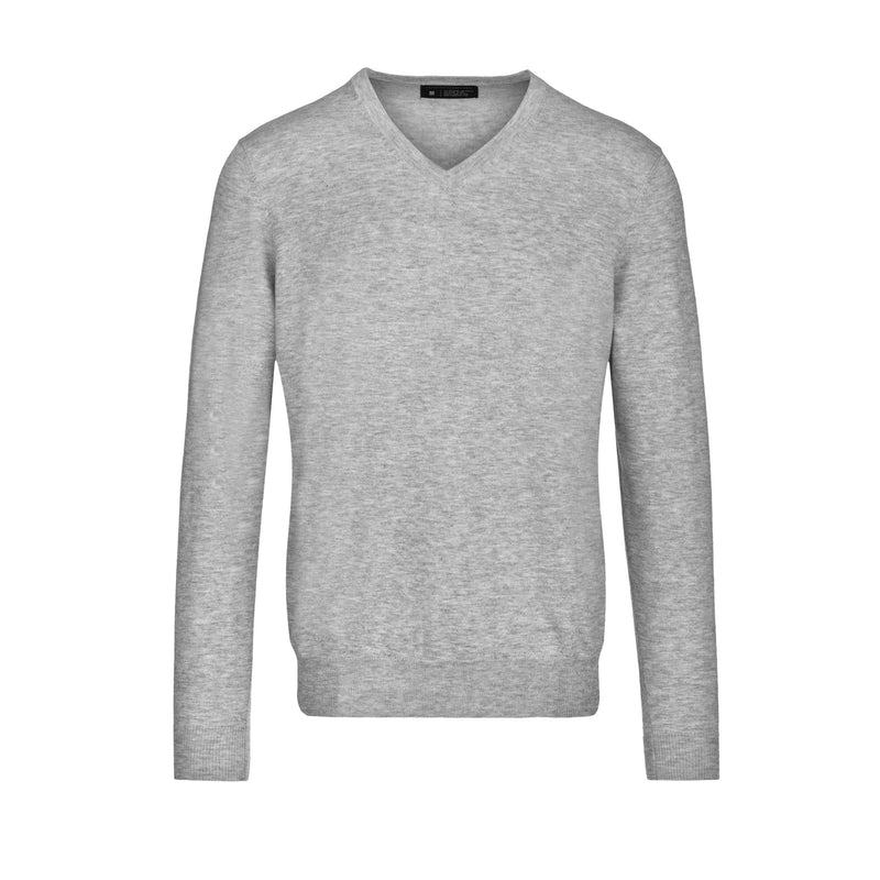 Light Grey Slim Fit V Neck Knit Sweater