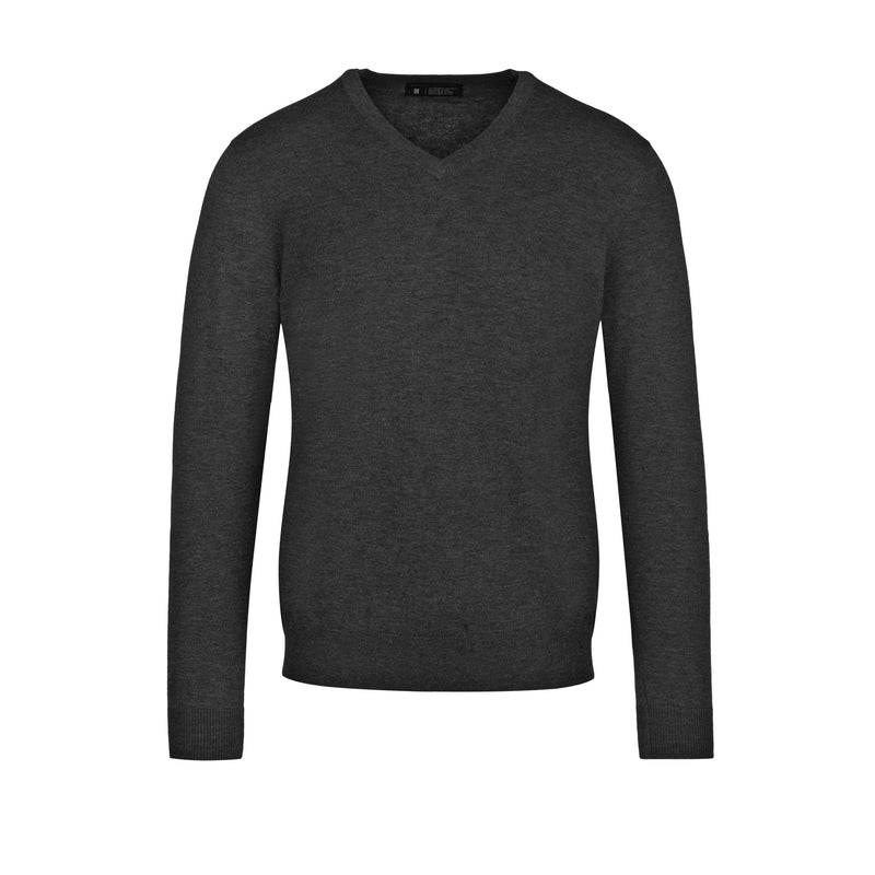Charcoal Slim Fit V Neck Knit Sweater