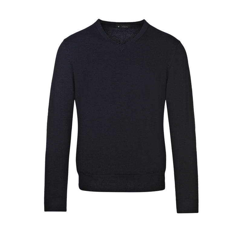 Navy Slim Fit V Neck Knit Sweater