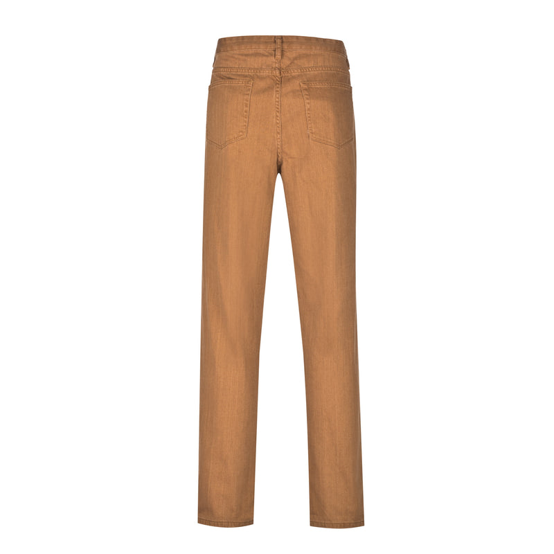 Wheat Slim Straight Stretch Denim