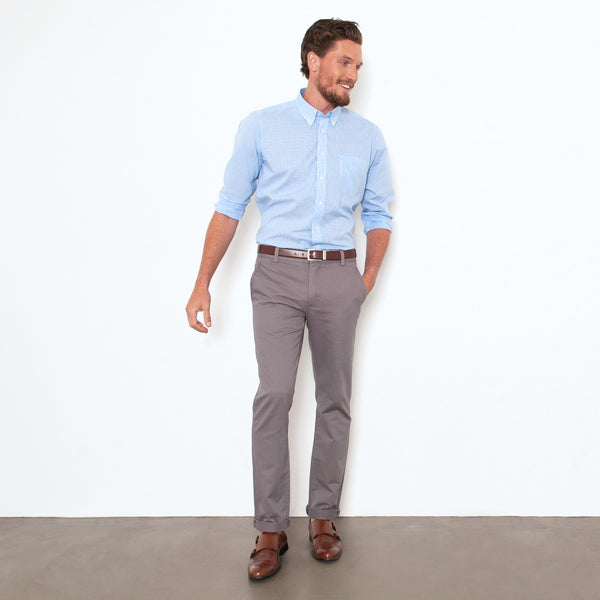 Grey Straight Stretch Chino Pant
