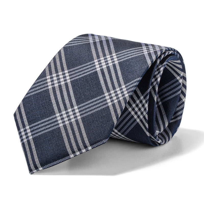 Navy and White Plaid Tie
