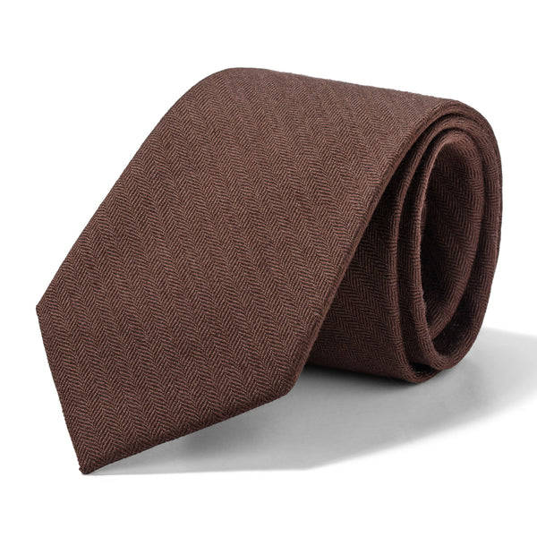 Tobacco Brown Mini Herringbone Tie