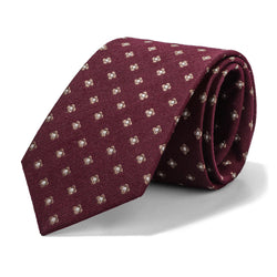 Burgundy and White Mini Foulard Tie