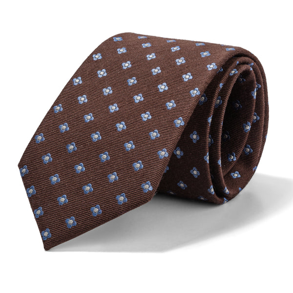 Brown and Blue Mini Foulard Tie