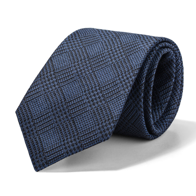 Slate Blue and Black Glen Plaid Tie