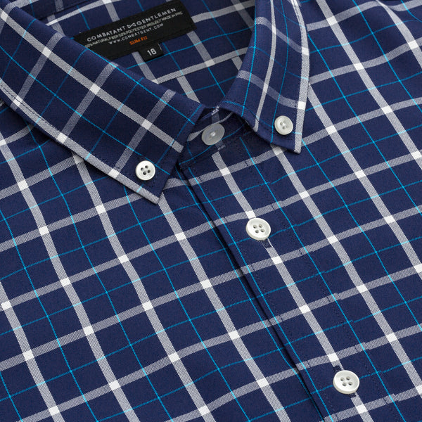 Blue Madras Slim Fit Button-Down Collar Shirt