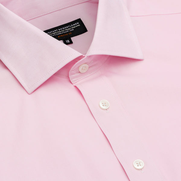 Pink Twill Athletic Fit Wide Spread Collar Shirt