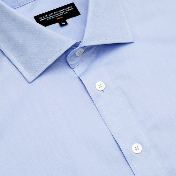 Light Blue Herringbone Slim Fit Wide Spread Collar Shirt