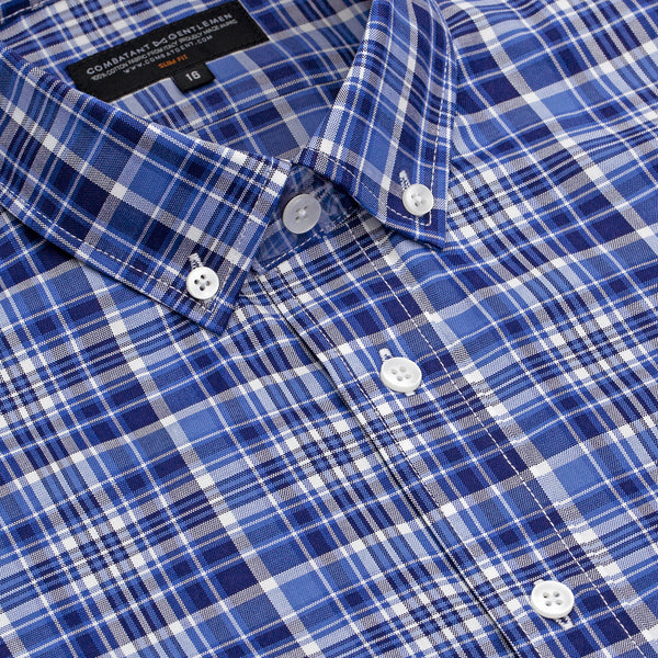 Light & Dark Blue Double Madras Slim Fit Button-Down Collar Shirt