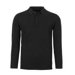 Black Slim Fit Long Sleeve Knit Polo