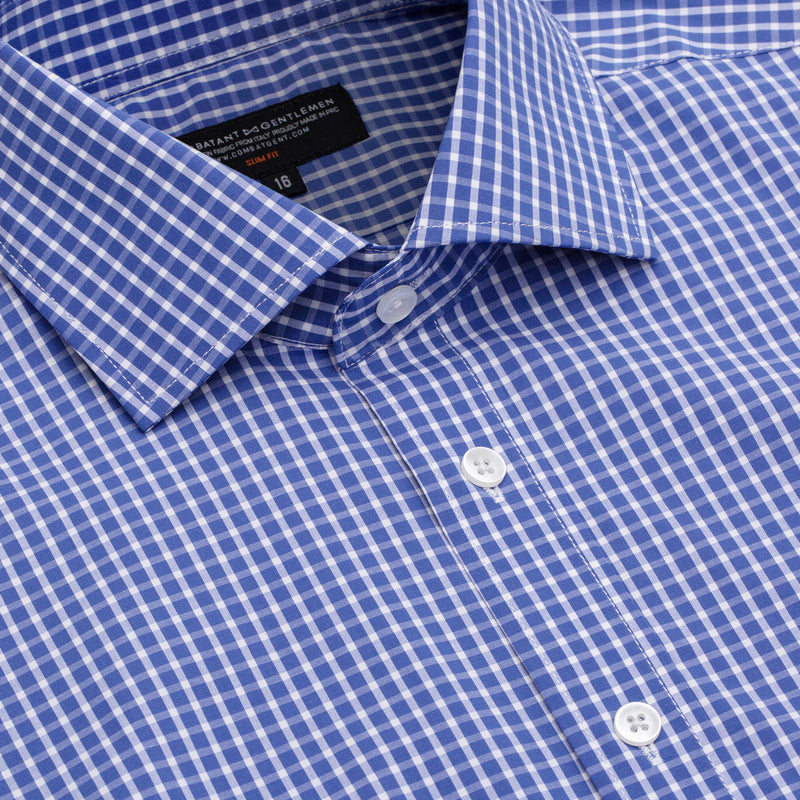 Blue Gingham Grid Check Slim Fit Wide Spread Collar Shirt