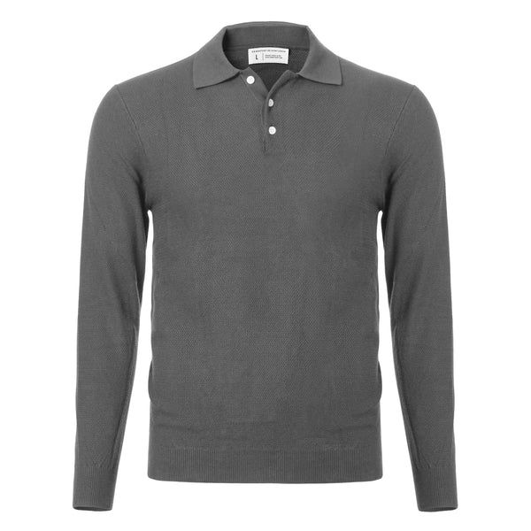 Grey Slim Fit Long Sleeve Knit Polo