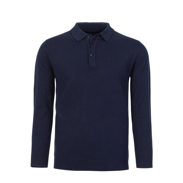 Navy Slim Fit Long Sleeve Knit Polo
