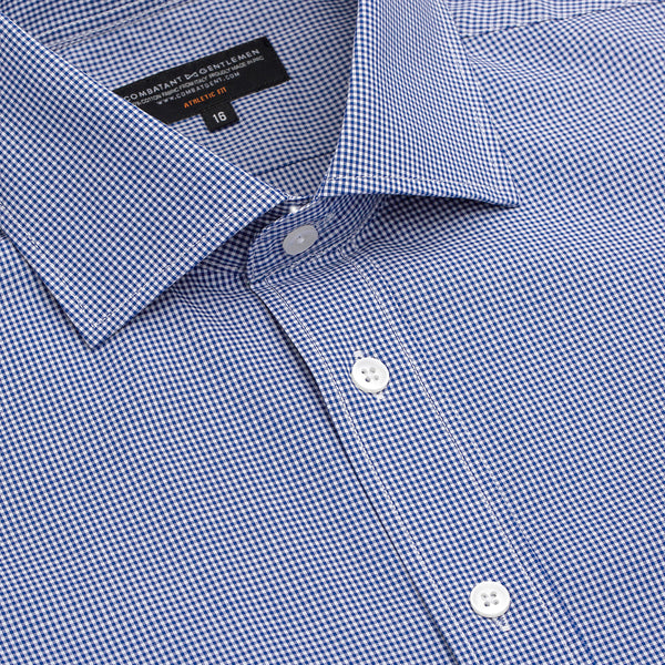 Navy Micro Gingham Athletic Fit Wide Spread Collar Shirt