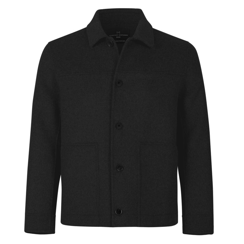 Black Wool Button Down Bomber