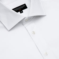 White Twill Slim Fit Wide Spread Collar Shirt