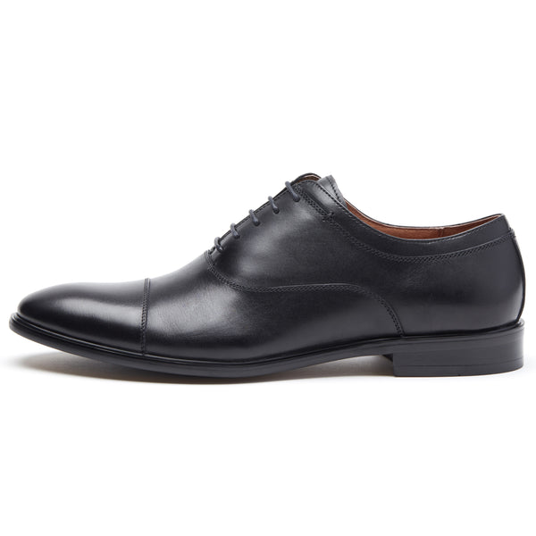 Black on Black Cap Toe Lace Up Oxford